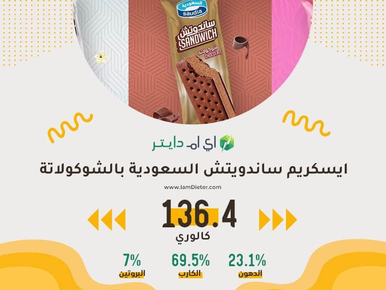 السعرات الحرارية في ايسكريم ساندوتش السعودية بالشوكولاتة
