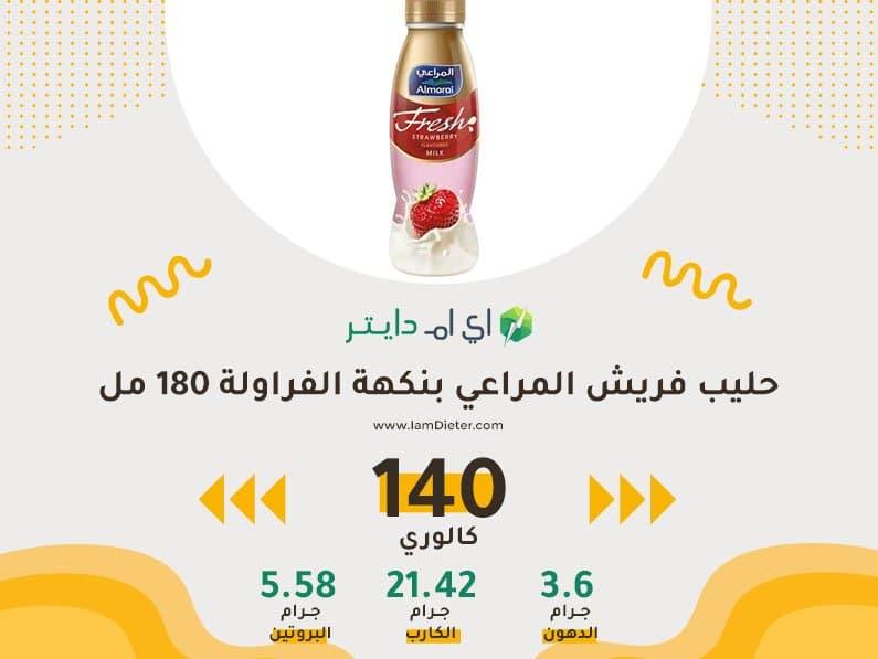 السعرات الحرارية في حليب فريش المراعي بنكهة الفراولة