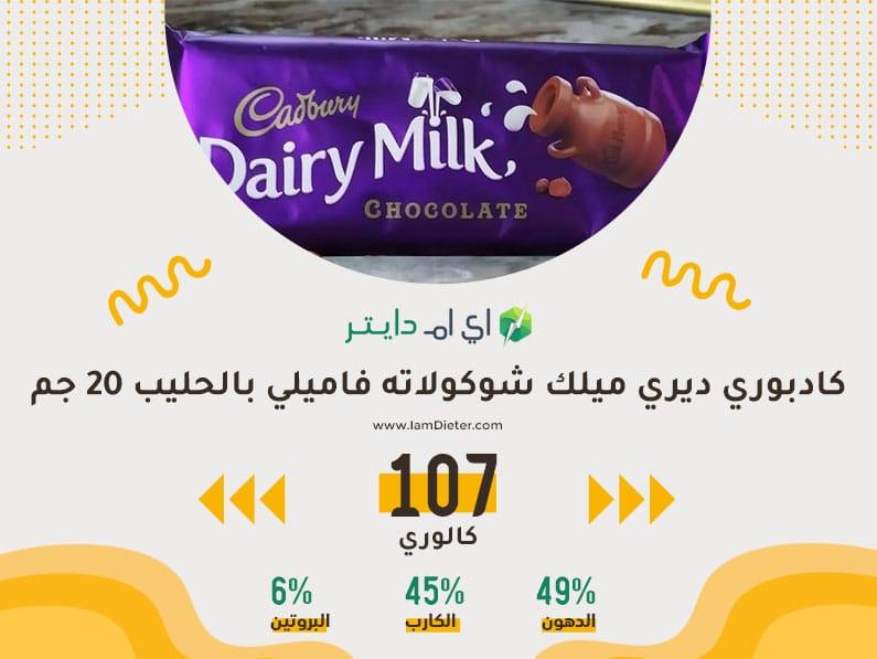 السعرات الحرارية في شوكولاته فاميلي بالحليب كادبوري ديري ميلك