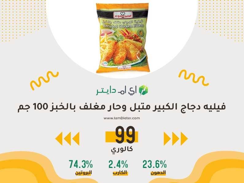 السعرات الحرارية في فيليه دجاج الكبير متبل وحار مغلف بالخبز
