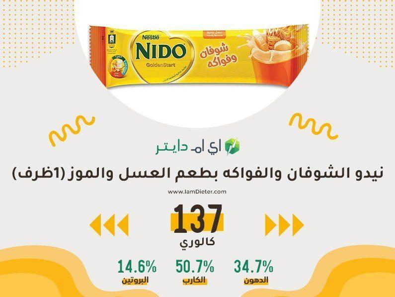 السعرات الحرارية في نيدو الشوفان والفواكه بطعم العسل والموز