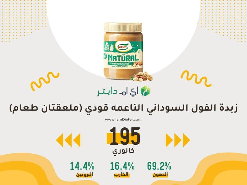 السعرات الحرارية في زبدة الفول السوداني الناعمه من قودي